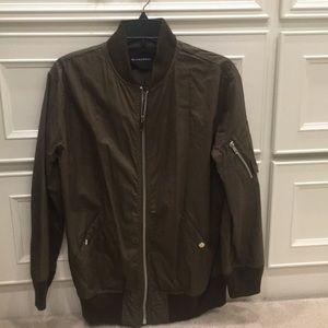 Olivaceous lightweight bomber jacket